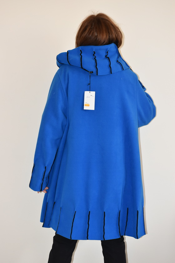 Damenmode Büsum-Fleecemantel-royalblau-hinten