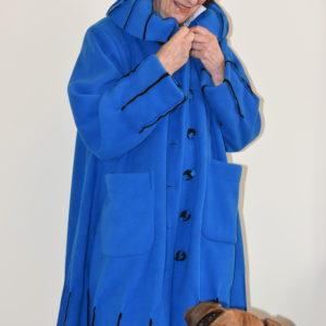 Damenmode Büsum-Fleecemantel-royalblau-vorne
