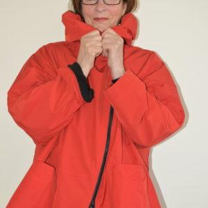 Damenmode Büsum-Hopsack Jacke-rot-vorne1