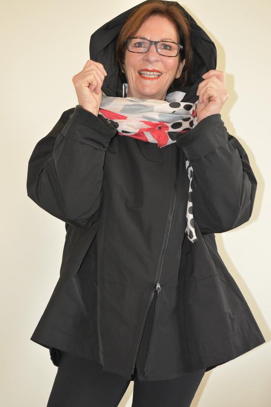 Damenmode Büsum-Hopsack Jacke-schwarz-vorne