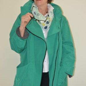Damenmode Büsum-Hopsack Mantel-grün-vorne