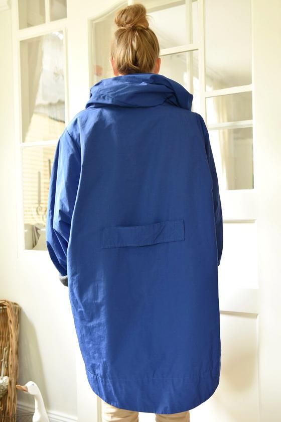 Damenmode Büsum-Hopsack Wintermantel-blau-hinten