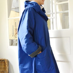 Damenmode Büsum-Hopsack Wintermantel-blau-seitlich
