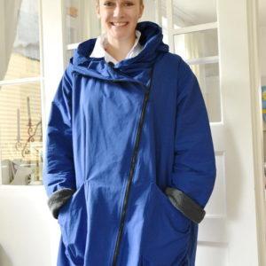 Damenmode Büsum-Hopsack Wintermantel-blau-vorne