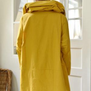 Damenmode Büsum-Hopsack Wintermantel-gelb-hinten