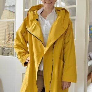 Damenmode Büsum-Hopsack Wintermantel-gelb-vorne