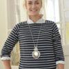 Damenmode Büsum-Kimmy Pullover-blau gestreift-vorne