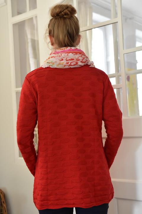 Damenmode Büsum-Kimmy Pullover-groß-rot-hinten