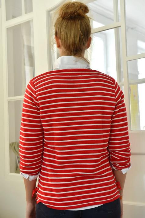 Damenmode Büsum-Kimmy Pullover-rot gestreift-hinten