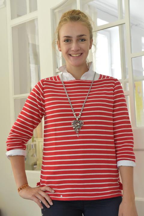 Damenmode Büsum-Kimmy Pullover-rot gestreift-vorne