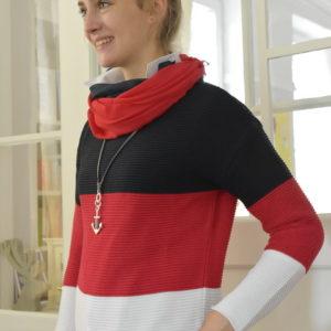 Damenmode Büsum-Zwillingsherz Pullover-groß gestreift-seitlich-li