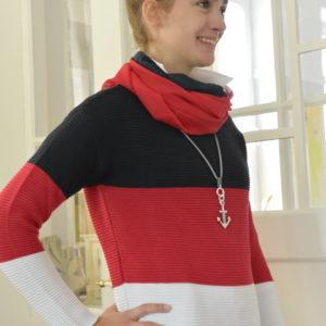 Damenmode Büsum-Zwillingsherz Pullover-groß gestreift-seitlich-re