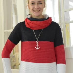 Damenmode Büsum-Zwillingsherz Pullover-groß gestreift-vorne